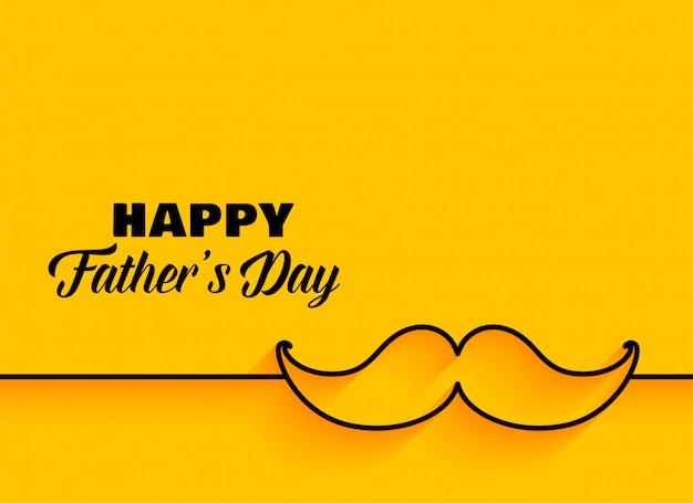 Счастливый день отцов минимальный желтый фон Бесплатные векторы