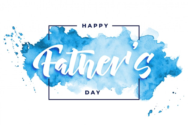 Happy fathers day watercolor card design Free Vector