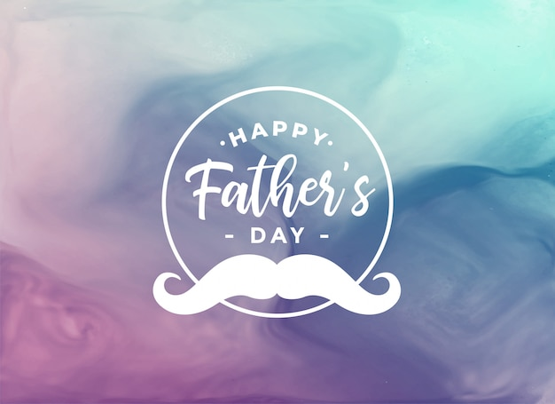 Happy fathers day watercolor card Free Vector