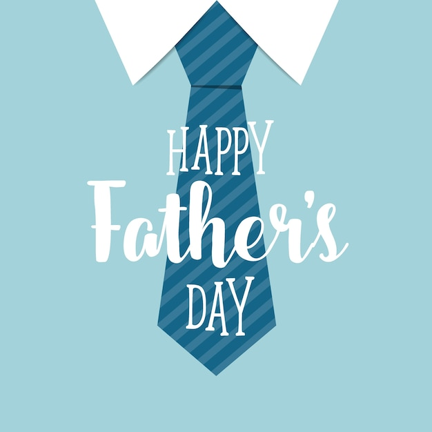 Happy Fathers Day With Blue Tie Background Free Vector