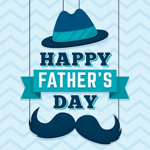 Happy fathers day with mustache and hat Free Vector