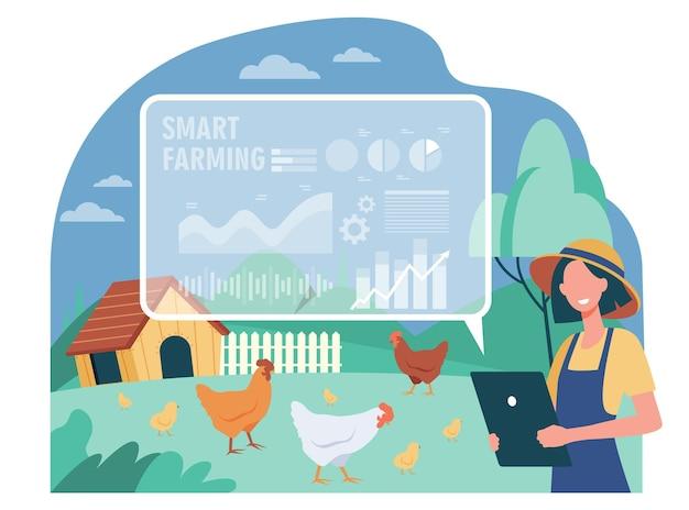 Coltivatore femminile felice che lavora con l'illustrazione piana dell'azienda agricola intelligente Vettore gratuito