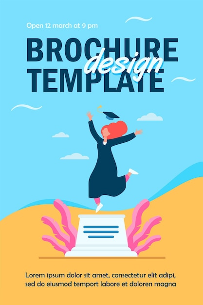 Happy female student celebrating graduation flyer template Free Vector