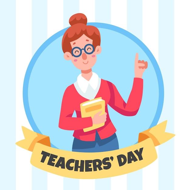 Insegnante femminile felice che tiene un libro Vettore gratuito