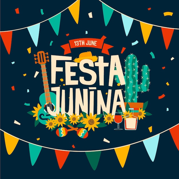 Happy festa junina festival with musical instruments Free Vector