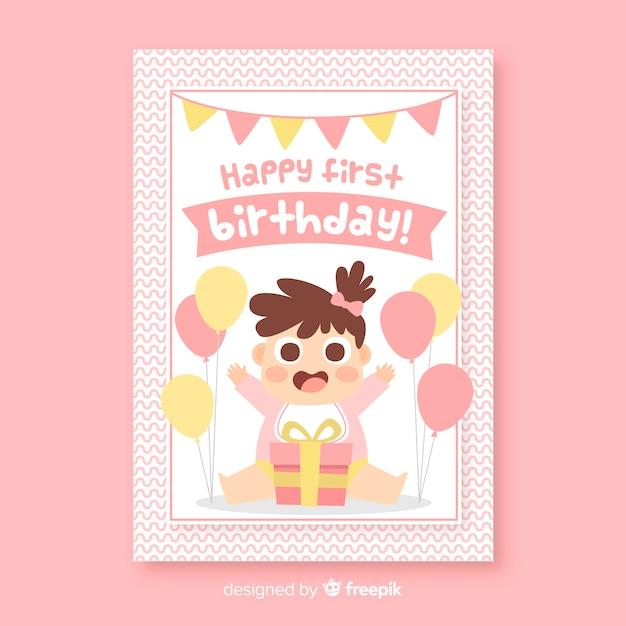 free vector  happy first birthday invitation card
