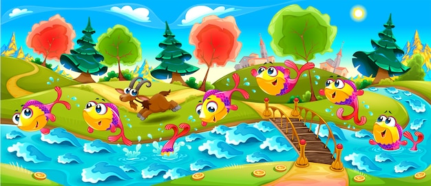 Happy fish are dancing in the river Premium Vector