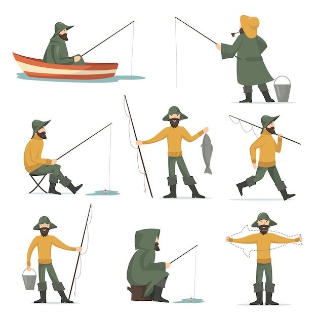 Happy fisherman with fishing rod flat set Free Vector