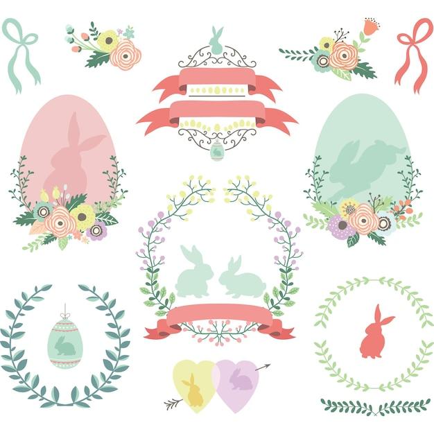 Счастливые цветочные пасхальные элементы дизайна Premium векторы