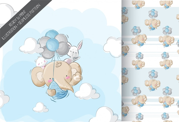 Happy flying baby elephant with seamless pattern Premium Vector