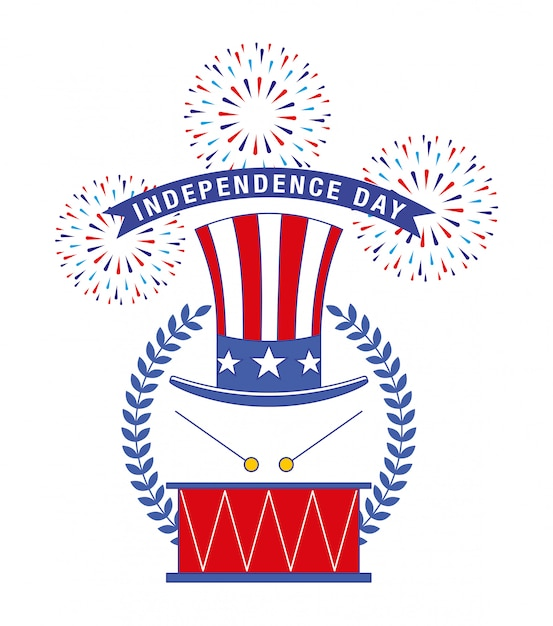 Happy fourth of july. independence day card Premium Vector