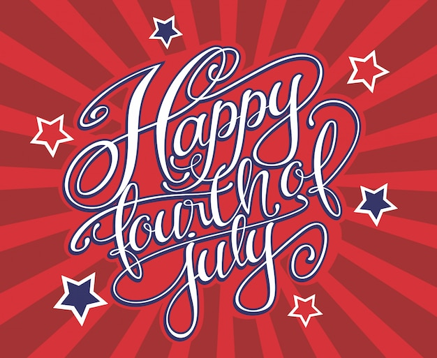 Happy fourth of july lettering Premium Vector