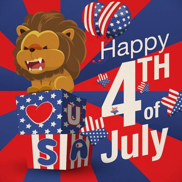Happy fourth of july background with\ lion