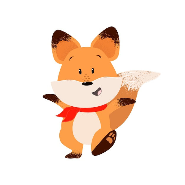Happy fox outstretching hands while walking Free Vector