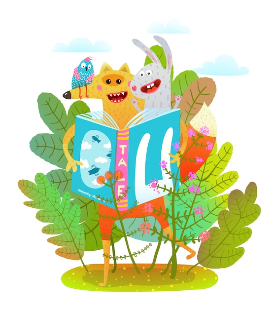 森の幸せなフォックスウサギと鳥の読書 Premiumベクター