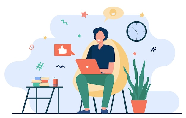 집에서 컴퓨터와 함께 행복 프리랜서. 안락의 자에 앉아 노트북을 사용 하 고, 온라인 채팅과 미소 젊은 남자. 원격 작업, 온라인 학습, 프리랜서에 대한 벡터 일러스트 레이션 무료 벡터
