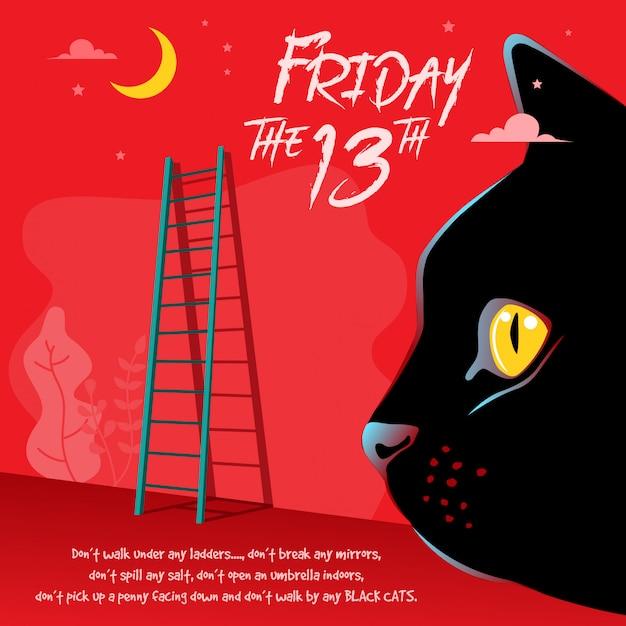 Happy friday the 13th illustration Premium Vector