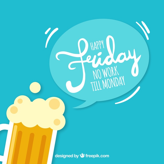 Happy Friday Background With Beer Vector Free Download