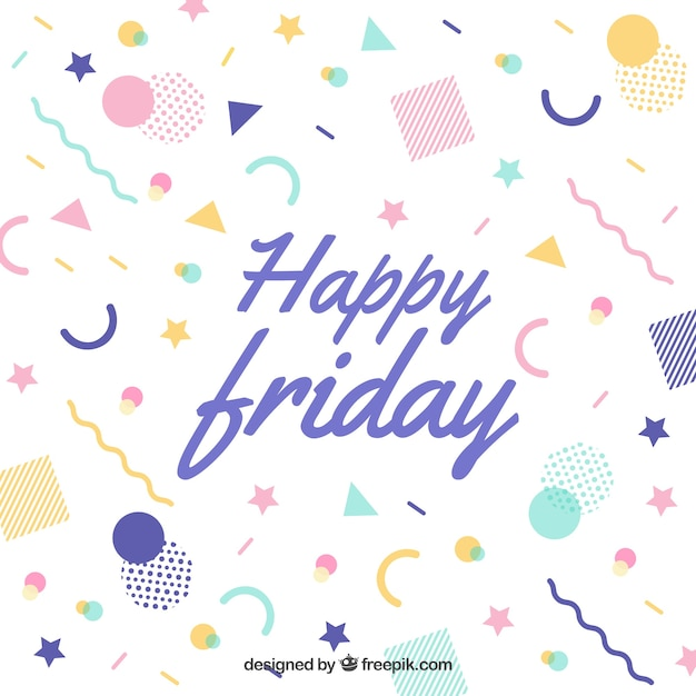 Happy friday memphis background Free Vector