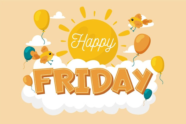 Happy friday message with illustrations Free Vector