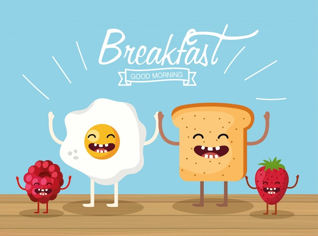 Happy fried egg with sliced bread and fruits Premium Vector