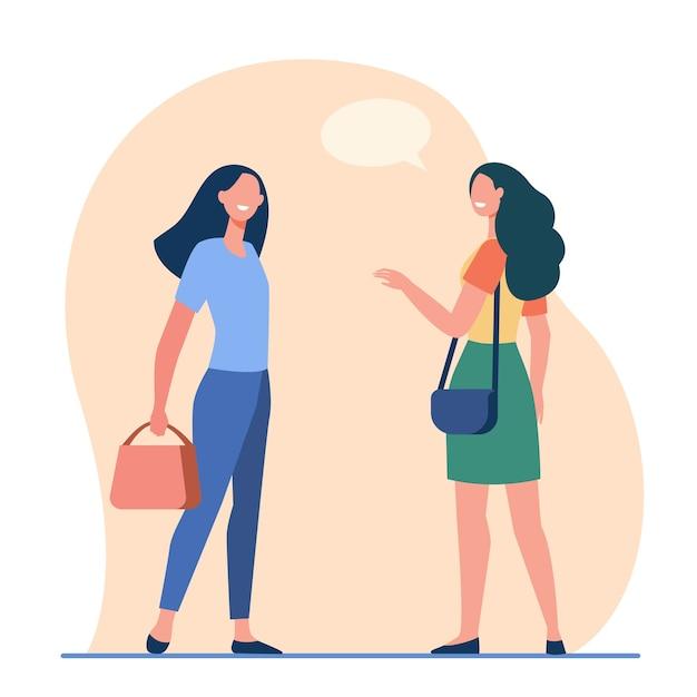 Donne amichevoli felici che parlano fuori. amici femminili riunione accidentale piatto illustrazione vettoriale. comunicazione, luogo pubblico Vettore gratuito