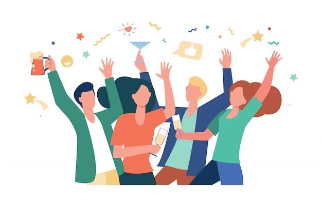 Счастливые друзья празднуют событие вместе Бесплатные векторы