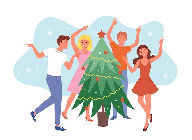 Счастливые друзья танцуют возле елки, рождественская вечеринка, девушки и парни празднуют новый год Premium векторы