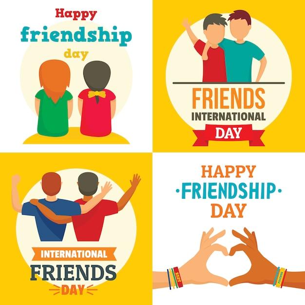 Happy friends day Premium Vector