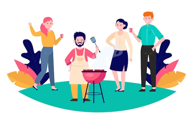 Happy friends enjoying barbecue party Free Vector