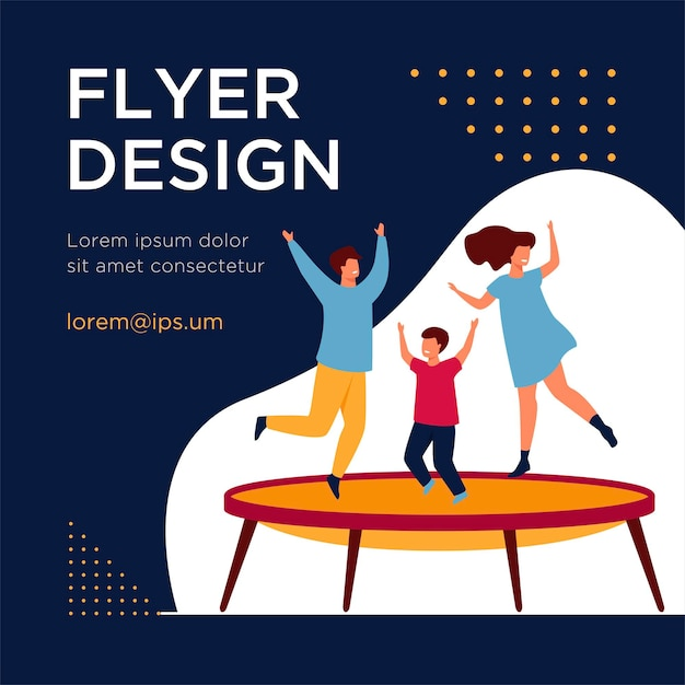 Happy friends jumping on trampoline flat flyer template Free Vector