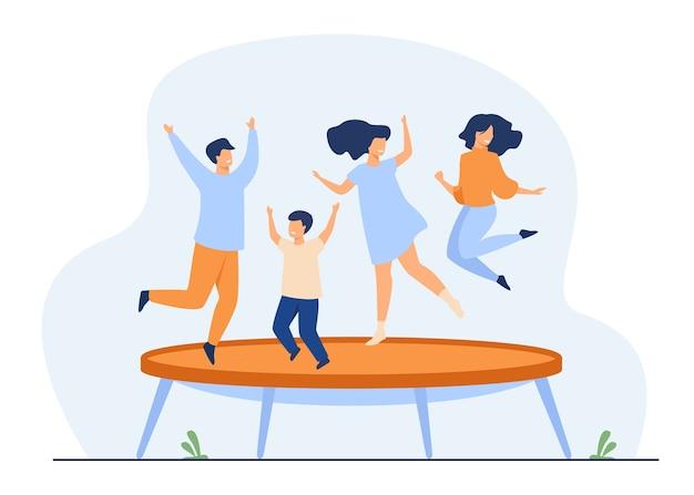 Amici felici che saltano sull'illustrazione piana di vettore del trampolino. gente del fumetto che si diverte e rimbalza Vettore gratuito