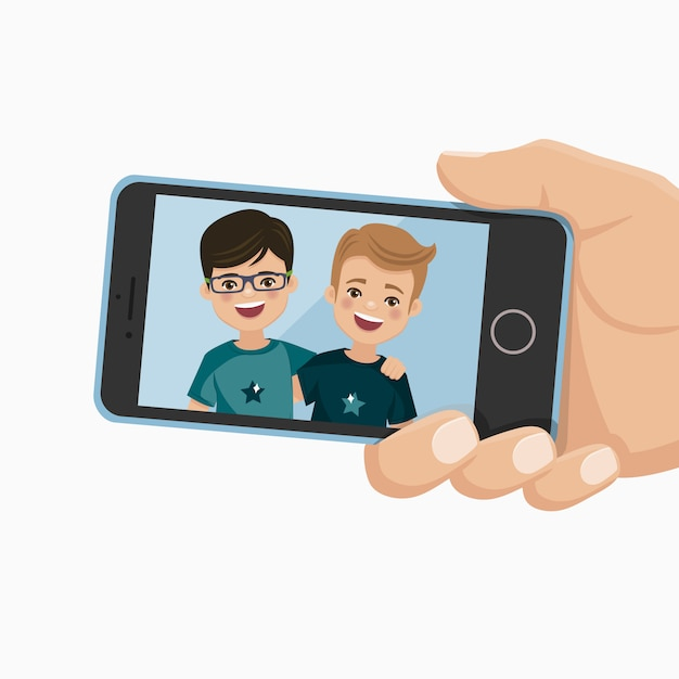 Happy friends photo in a smartphone. boys are photographed together. Premium Vector