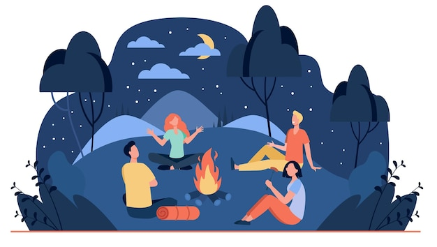 Happy friends sitting near campfire at summer night flat illustration. cartoon people telling scary story near fire Free Vector