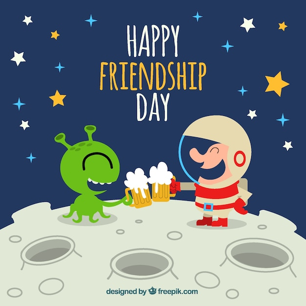 Happy friendship background with alien and\ astronaut