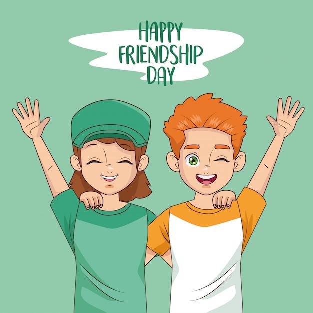 Happy friendship day celebration with kids couple Premium Vector