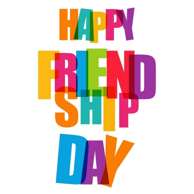 Happy friendship day colorful typogrpahy Free Vector