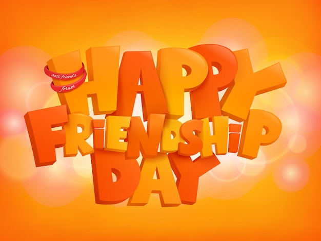 Happy friendship day design text elements on shiny background. Premium Vector