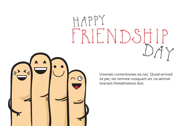 Happy friendship day greeting card friends holiday banner Premium Vector