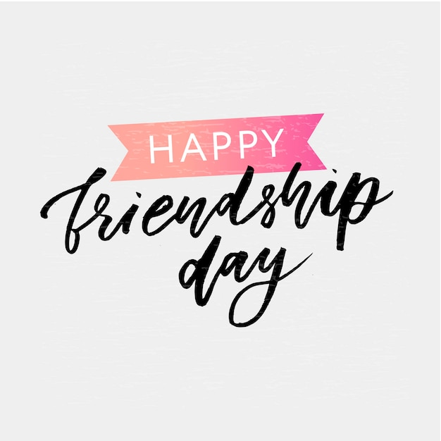 Happy friendship day lettering Premium Vector