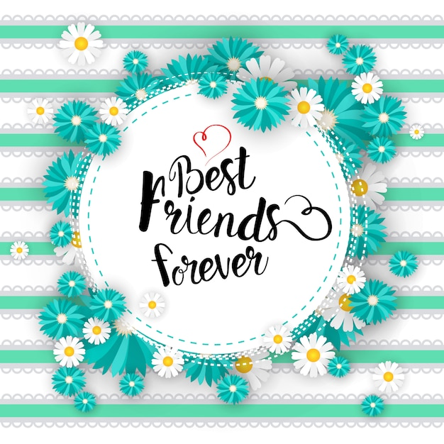 Happy friendship day logo greeting card friends holiday banner Premium Vector