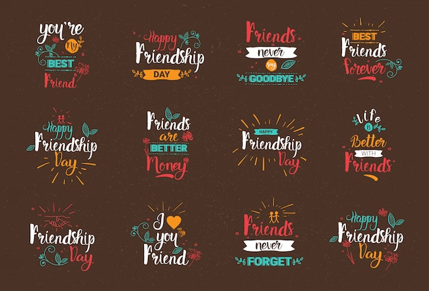 Happy friendship day logo set greeting cards collection friends holiday banner Premium Vector