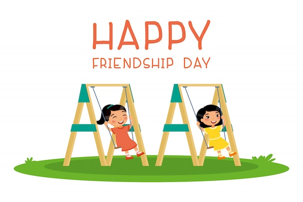 Happy friendship day. two cute little asian swinging on swing in public park or kindergarten playground. Premium Vector