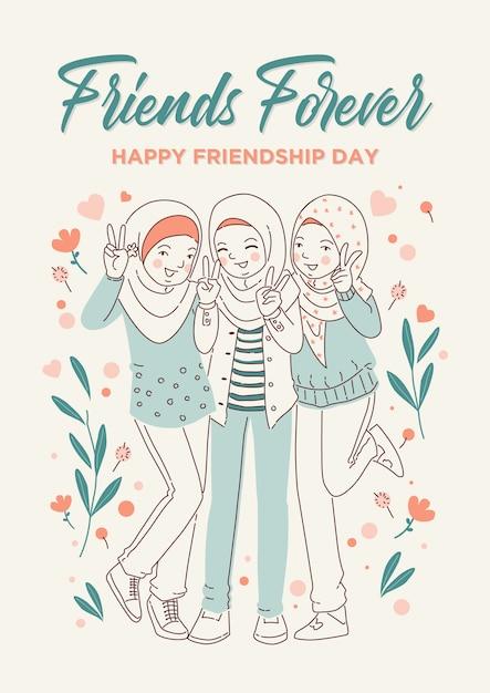Happy friendship day Premium Vector