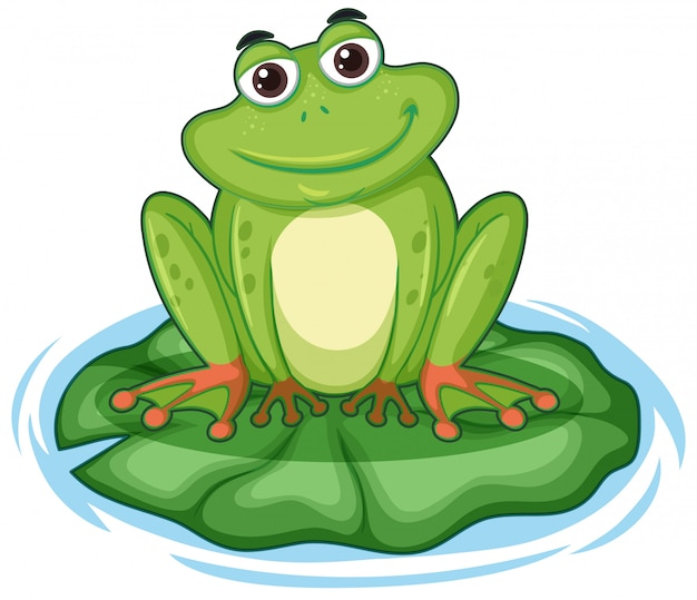 Happy frong sitting on lotus leaf Free Vector