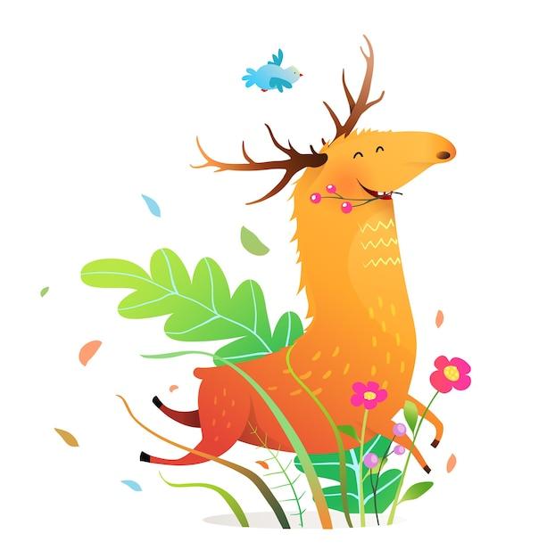 自然の中で幸せな面白いランニングムースや鹿 Premiumベクター