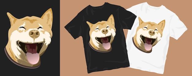 행복 한 재미 있은 미소 개 만화 T 셔츠 디자인 프리미엄 벡터