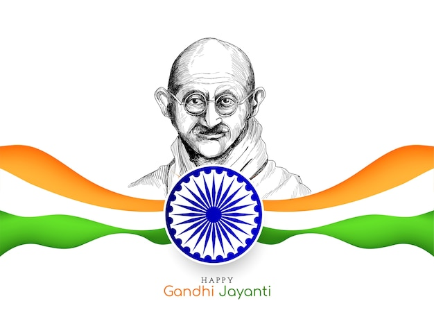 Happy gandhi jayanti background with indian tricolor flag Free Vector