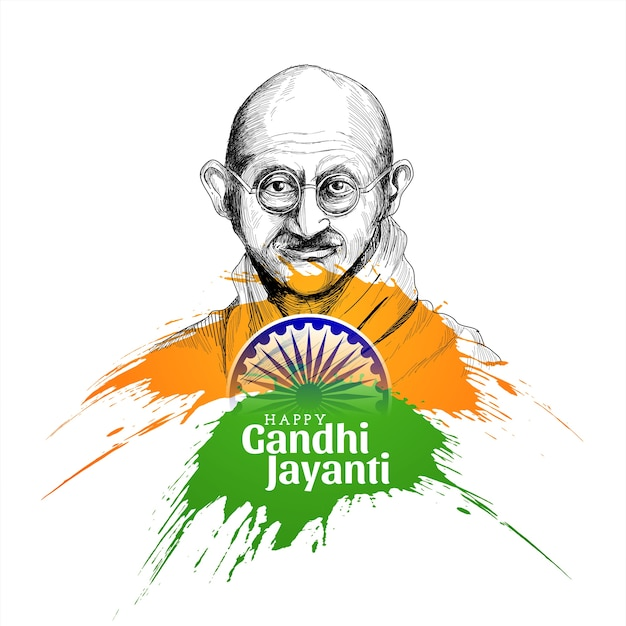 Happy gandhi jayanti concept background Free Vector