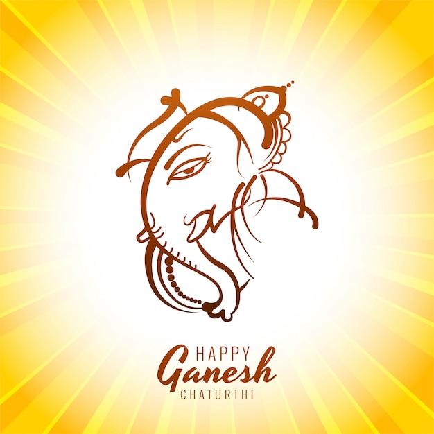 Illustrazione felice della carta di chaturthi di ganesh Vettore gratuito